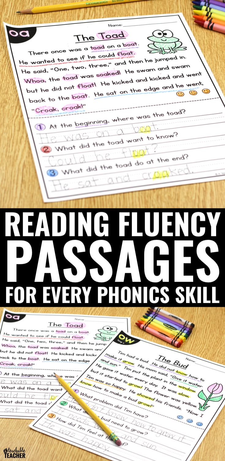 Don't just teach kids phonics patterns, give them the chance to practice phonics in the context of reading. Practice phonics, fluency, and comprehension all at once with these reading passages. This TPT resource covers kindergarten, first grade, and second grade!