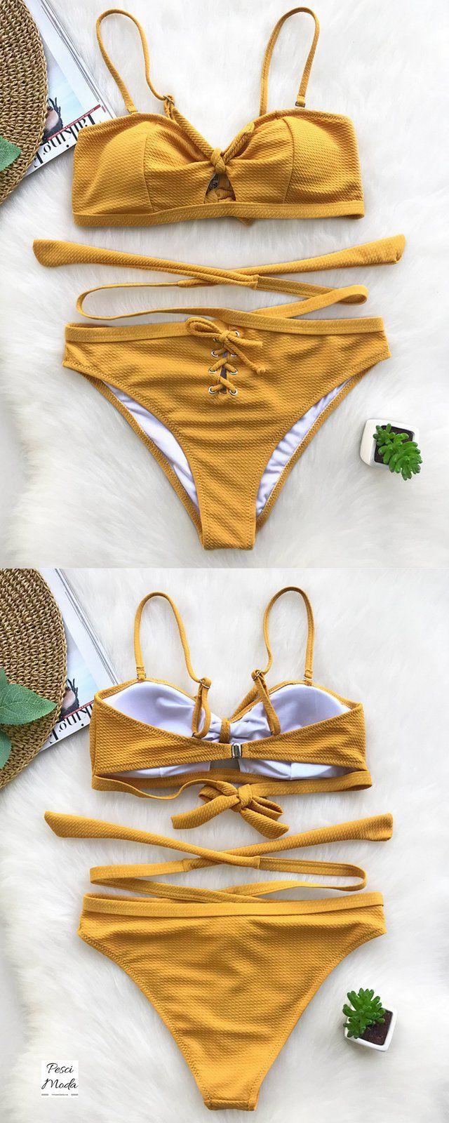 b91fbfefc0 60%Off Sale 2018 Summer Fashion Yellow Bikini Set by PesciModa. Get  Additional 10%Off your first order shop online today..!! #BikiniSets  #BikiniSetsForTeens ...