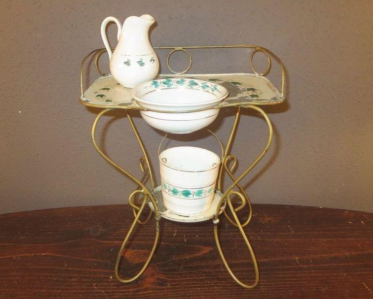Antiker Jugendstil Waschtisch Mit Porzellan Waschgarnitur