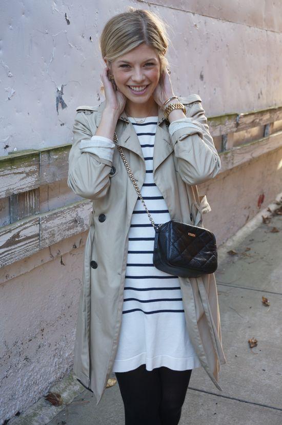 trench coat + breton shirt dress