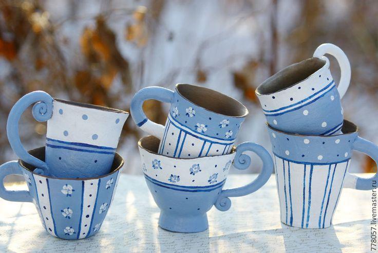 """Купить Набор кружек """" Нежность деревенского утра"""" - голубой, деревня, чай, чаепитие, тепло"""