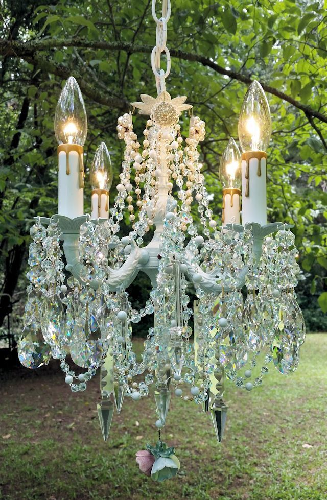 Vintage Antique Palest Aqua Crystal Petite French Shabby Chandelier by sheriscrystals on Etsy