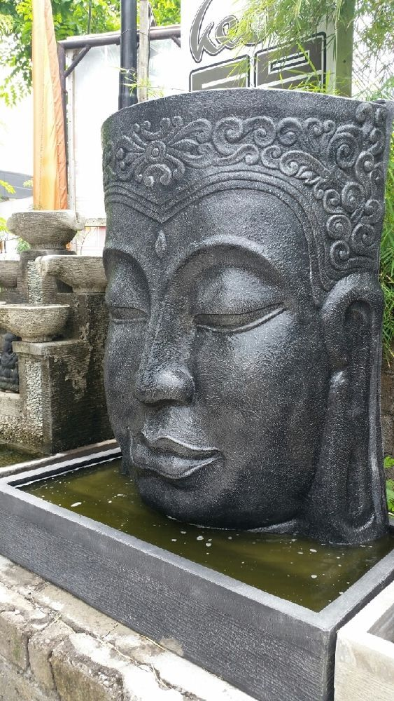 Large Buddha Face Wall Water Feature Garden Statue Sculpture CRC Black Finish