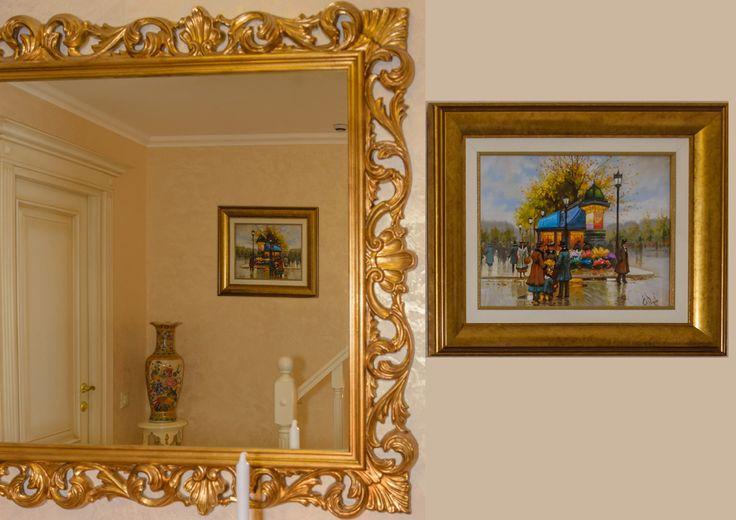 My progekt. Mirror.  Зеркало в интерьере.Резная деревянная рама. Подбор картины для холла. #krapivinairina #нашипроекты #эдванс #мебельиталии #дизайнинтерьера  #декор #mirror #painting #designinterior