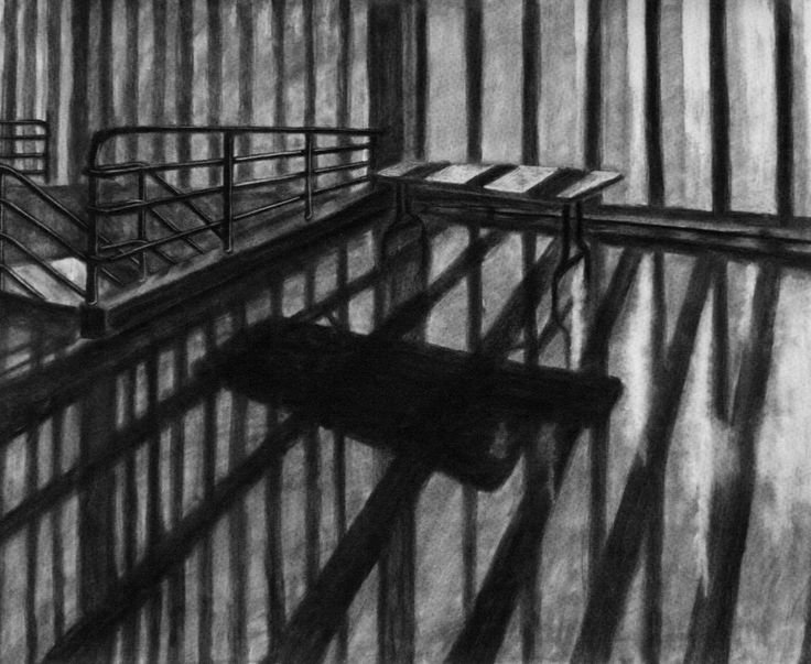 "Clara Lieu, Student Artwork, RISD Foundation Studies, Freshman Drawing course, Interior Architectural Space Defined by Light Assignment, charcoal, 36"" x 48"", 2014"