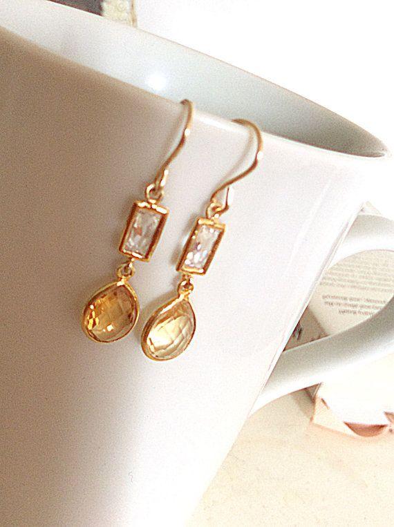 Karamel Citrien oorbellen / goud vermeil drop oorbellen / CZ oorbellen / echte edelsteen oorbellen / cadeau voor haar
