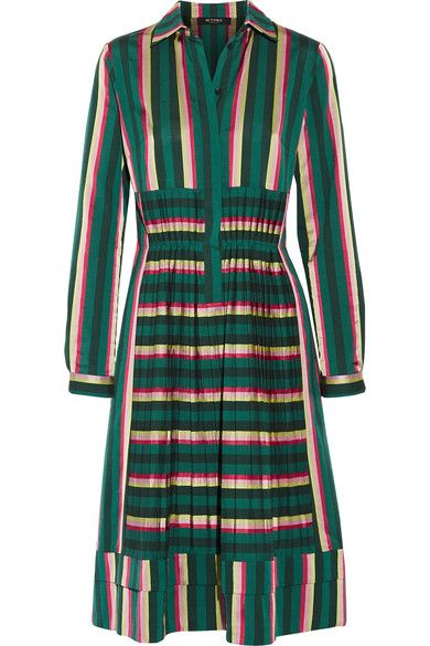 Etro - Pleated Striped Cotton-blend Dress - Green - IT48