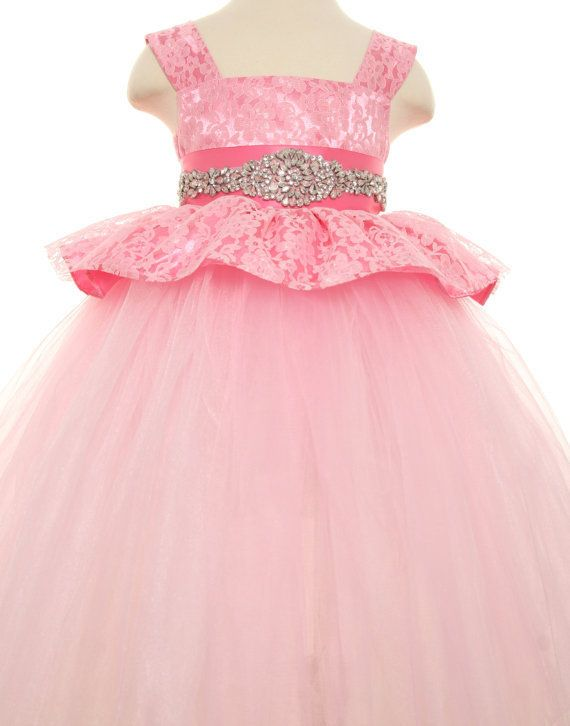 vintage-bead-fluffy-tulle-long-pink-lace-girls-birthday-dress-party-frocks-for-kids-ball-gown.jpg (570×726)