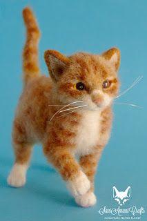 Needle felted cat, cat miniature, cat pet portrait, kittens small cat sculpture