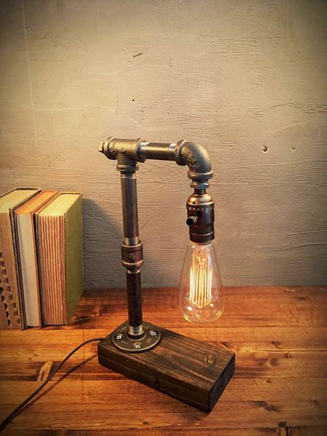 Industrial Lighting - Steampunk Lamp - Table Lamp - Edison Light - Vintage Light - Pipe Lamp - Bedside Lamp - Rustic Lighting - Loft light Industrial style table lamp with a rustic vintage Edison bulb light. Table lamp sits on a gorgeous finished wood base.  ADD ON: We offer a full range dimming socket to set just the right mood! The dimmer comes in silver and brass, this dimmer is available in our shop as an add on purchase!. Here: https://www.etsy.com/listing/211907470&#...