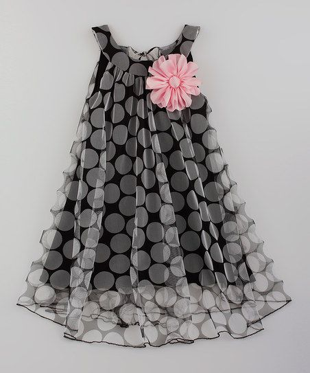 Black & Pink Flower Swing Dress - Toddler & Girls