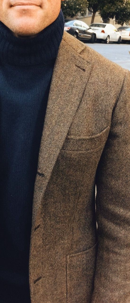 Tweed, rollneck, no hanky.   Because sometimes, you gotta show some restraint.