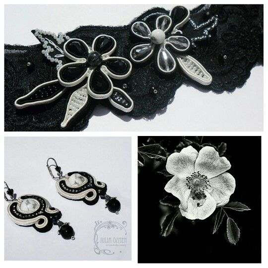 """Nocturne"" earrings and for hair. Black and white. Soutache jewelry by Yulia Ozmen"