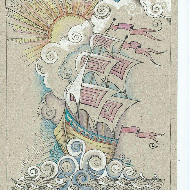 """""""Ветер по морю гуляет и кораблик подгоняет """" #tvorchestvo_aleni #рисуюкаждыйдень #рисуюцветнымикарандашами #ярисую #графика #линер #иллюстрация #зентагл"""