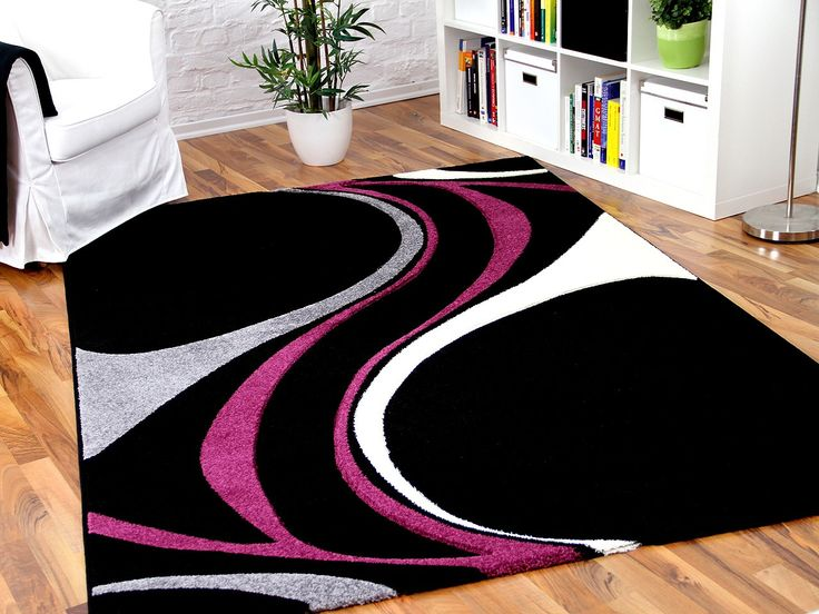 Wohnzimmer Teppich Schwarz Wei. Free Designer Teppich Mit Wellen ...