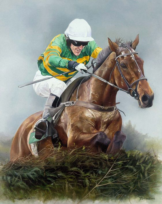 Dont Push It Limited Edition Horse Racing Print by Equestrian Artist Joanna Stribbling