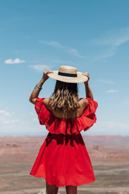 red off-the-shoulder mini dress + straw boater hat