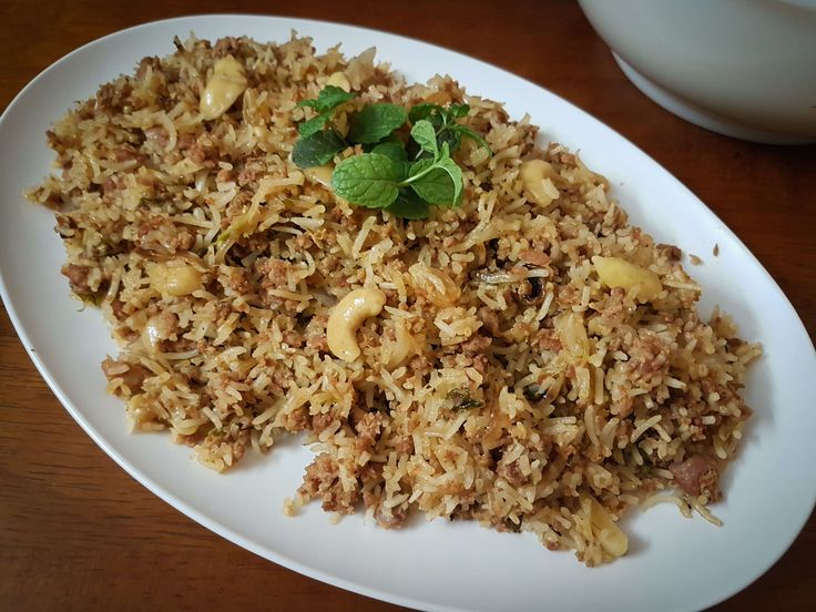 Mom's Rice Cooker Mutton Keema Pulao (Goat Mince Pilaf)