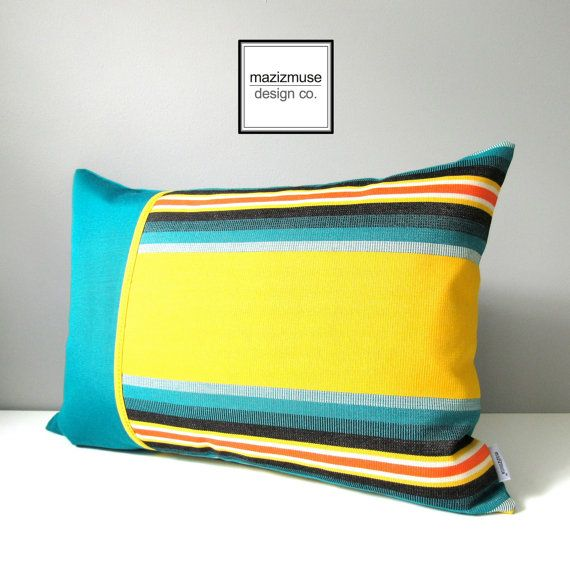 Lemon Yellow And Teal Goodness! Indoor Outdoor Pillows From Mazizmuse.com  Https:/