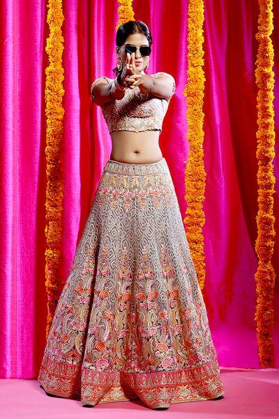 Sangeet Lehengas - Light Grey and Pink Embroidered Lehenga by Jiya by Veer Design Studio | WedMeGood | Grey Lehenga and Choli with Red, Orange and Pink Embroidery #wedmegood #indianwedding #indianbride #lehenga #bridal