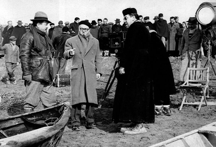 Julien Duvivier gives direction to Gino Cervi and Fernandel on location for Le petit monde de Don Camillo