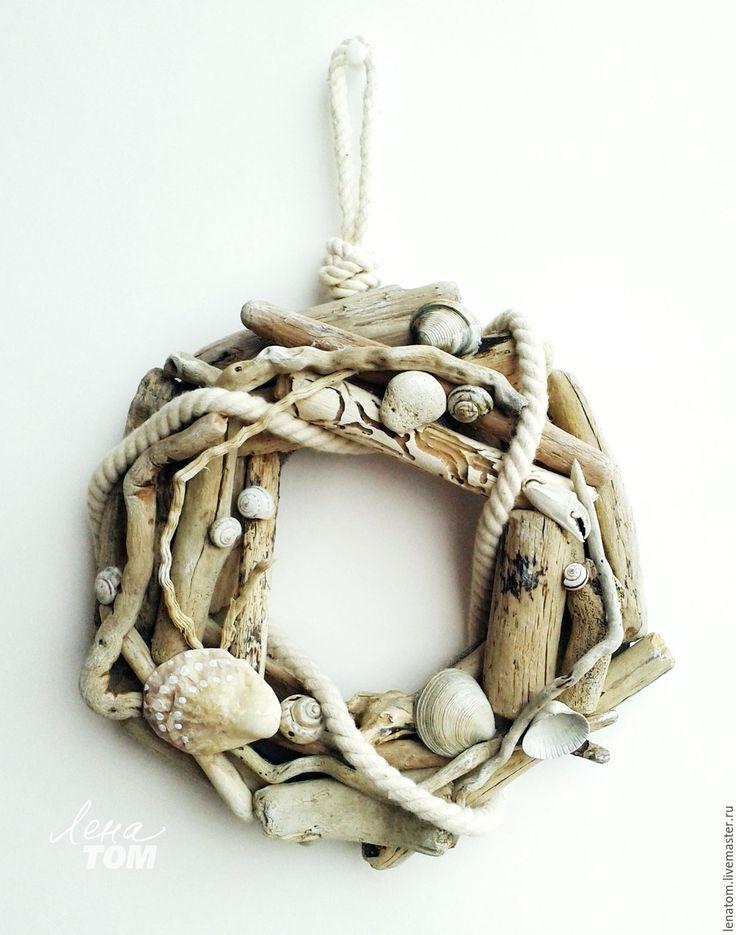 Купить Память о море' венок морской декор - серый, белый, природный, морской венок, море