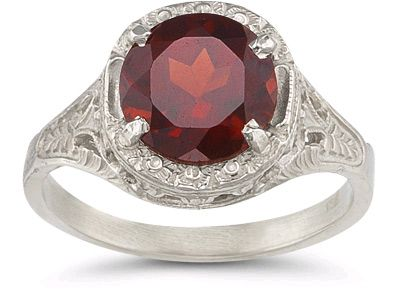 Vintage Floral Garnet Ring in 14K White Gold Gemstone Jewelry $625.00