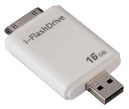 Hama i-FlashDrive: allows you to side load music/pictures to your Apple iPhone/iPad/iPod straight from your computer, without having to go thru iTunes.