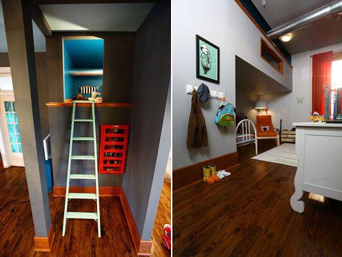 Dormitorio infantil con un escondite secreto : ¡Que dormitorio tan divertido! estos hermanos tienen que pasarlo en grande en esta habitación infantil conescondite secreto al que se accedepor una escal