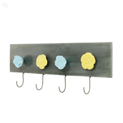 wall hook in iron with ceramic flowers metal hooks flowers zansaar