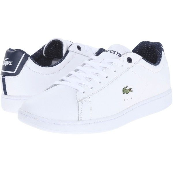 Lacoste Carnaby Evo 116 1 Women's Lace up casual Shoes ($100) ❤ liked on Polyvore featuring shoes, embroidered shoes, lacoste shoes, real leather shoes, round cap and laced up shoes