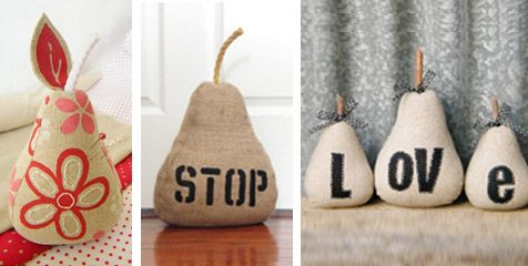 Fabric pears craft for Door stop idea