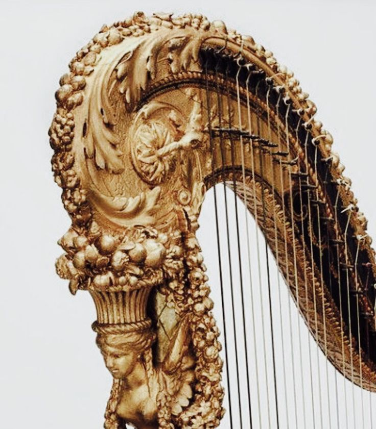 Beautiful harp detail, rococo period or inspired by. -IG