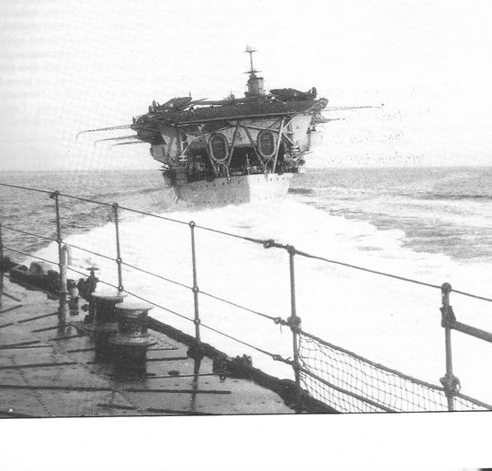 Carrier HMS Glorious off Norway with Hurricanes of 46 Squadron embarked, May 1940. She was sunk the following month by German fast battleships Scharnhorst and Gneisenau - inexplicably caught unawares with no aircraft aloft.