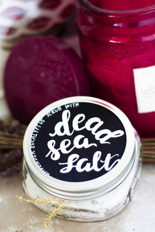 DIY: Lavender Eucalyptus Salt Scrub With Dead Sea Salt  Made a bunch of hand & body scrubs this Christmas using Dead Sea salt. More info #ontheblog.