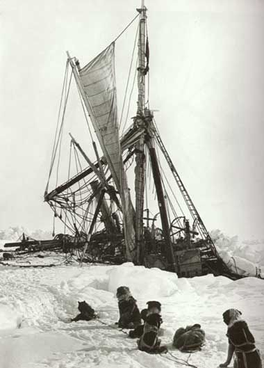 After months trapped in ice, the Endurance begins to sink into the Weddell Sea. Imperial Trans-Antarctic Expedition, November 1915.