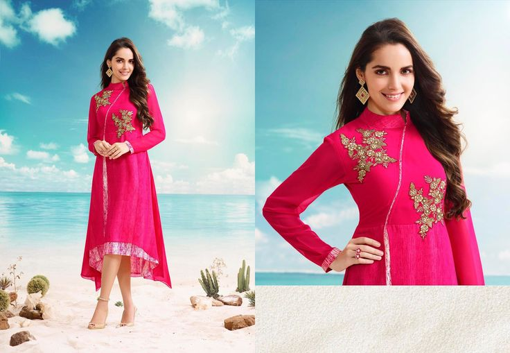 Pink designer georgette stylish kurti for girls