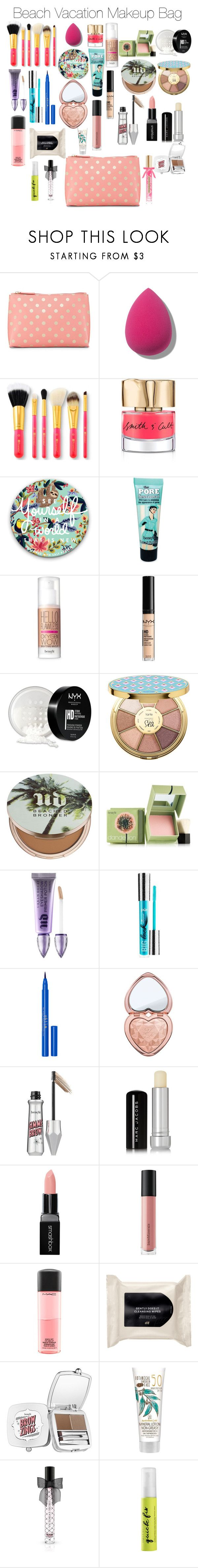 """2017 Beach Vacation Makeup Bag"" by ctrygrl1999 ❤ liked on Polyvore featuring beauty, Shiraleah, Smith & Cult, Benefit, NYX, tarte, Urban Decay, Stila, Too Faced Cosmetics and Marc Jacobs"