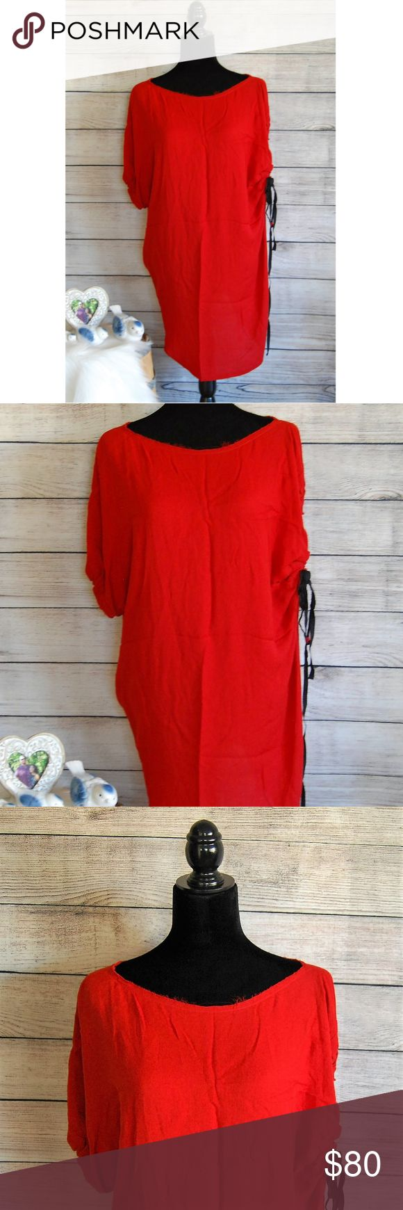 A.L.C. Red Tunic Style Dress A.L.C Red Tunic Dress Good Used Condition It has unfinished hemlines around neck and bottom of the dress. Sleeve is normal on one side the other side can be adjusted and tied to give it a more unique look. Size 4. No rips, stains, holes, or snags. Feel free to message me with any questions about this item. Comes from a pet free/smoke free home. A.L.C. Dresses Midi