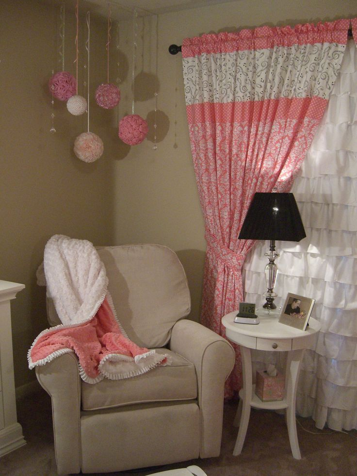A musically inspired pink damask nursery for Melody decorated by her mom and her namesake and grandma, Ody (short for Melody).