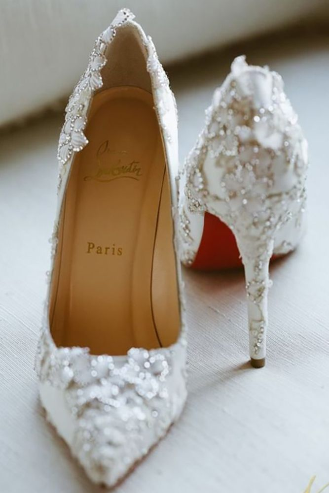 24 Gorgeous Bridal Shoes For Stunning Brides ❤ See more: http://www.weddingforward.com/gorgeous-bridal-shoes/ #weddings #shoes