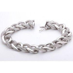 925 ayar zirkon taşlı, gümüş bayan bilekligi
