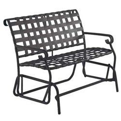 """Seville Gliding Love Seat - Aluminum Patio Furniture by Woodard. $549.00. Aluminum Patio Gliding Love Seat. W42.8""""xD29""""xH34"""". Visit our site for Strap Color and Aluminum Finish options. Curvy and classic, Seville melds the durability of virgin vinyl straps with a hand wrought powder coated rustproof aluminum frame to create the ideal outdoor furniture. Available in eight impressive aluminum finishes and a brilliant selection of eight colors of strap, all durable and of hi..."""