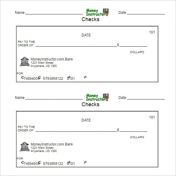 Payroll Checks Template Payroll Checks Printable Checks Payroll Template