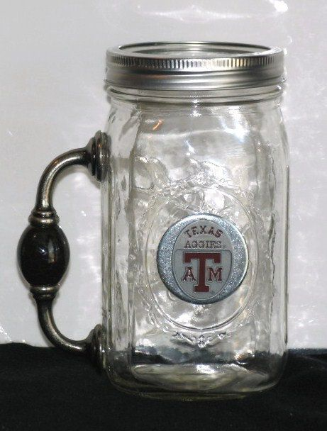 Cowgirl Cocktail REDNECK Cowboy Chugger Beer Mug for Good Ole Boys - TEXAS A Aggies Ball mason jar w/ Handle. $23.99, via Etsy.
