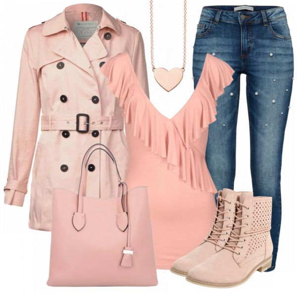 Freizeitoutfit aus rosa Trenchcoat, rosa Oberteil mit Volants und rosa Stiefeletten.. #fashion #fashionista #mode #damenmode #frauenmode #damenoutfit #frauenoutfit #outfit #outfitinspiration #mode #trend2018 #modetrend