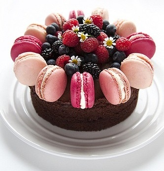 Chocolate Buttercream Sponge Cake decorated with Blackberry & Raspberry Macarons.
