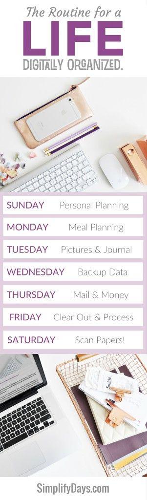 Cómo mantener una vida organizada digitalmente en cuestión de minutos al día.  Obtener los detalles, consejos y tutoriales.  // SimplifyDays.com