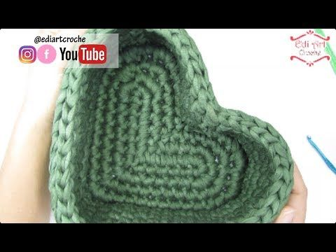Basket with heart knitted yarn | Special Mother's Day | Edi Art Croche – YouTube