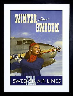 Winter #sport skiing sweden swedish airline ad #framed art #print picture f12x155,  View more on the LINK: 	http://www.zeppy.io/product/gb/2/282027728626/